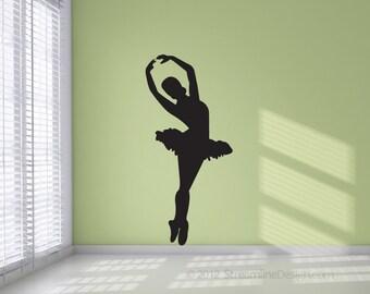 Ballet Dancer Silhouette Removable Vinyl Wall Art Decor girls room wall sticker dancing dancers ballerina dancer dance studio