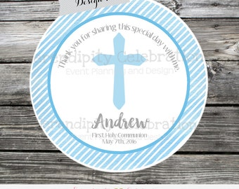 First Communion, Baptism, Confirmation, Religious, Set of 12 Personalized Favor Tags, Stickers, Thank You Tag, Blue Green Watercolor, Cross