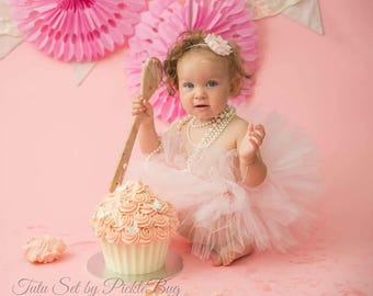 Cake Smash Outfit Girl Tutu, 1st Birthday Outfit, First Birthday Outfit Girl Tutu Skirt, Tulle Skirt, SEWN Tutu, 1st Birthday Tutu Dress