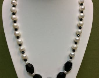 "19"" Faceted Black Onyx 8-9mm White Freshwater Cultured Pearls and Sterling Silver Necklace"