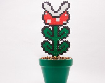 Super Mario Potted Piranha Plant Perler with Pixelated Dirt || Pottery, Geekery, Decoration, Mario Bros., Gaming