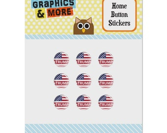 President trump american flag set of 9 puffy bubble home button stickers fit apple ipod touch, ipad air mini, iphone 5/5c/5s 6/6s 7/7s plus