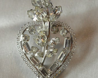 Filigree and rhinestone flowers and heart pin