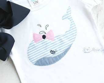 Girly Preppy Seersucker Whale Applique Personalized Shirt