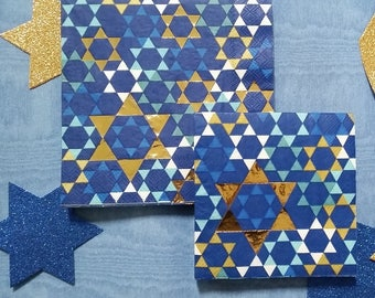 Passover Paper Napkins for Seder or Decoupage, Passover Seder Napkins Tableware, Gold Star of David Napkins for Jewish Holiday Table