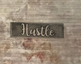 Metal etched hustle personalized pendant necklace or bracelet