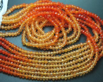 13 INCH Strand, Very Rare, Finest NATURAL Shaded CARNELIAN Semi Precious Faceted Rondelles 3.5-4mm