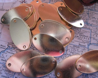 5 Small Brass Oval Blank Tags