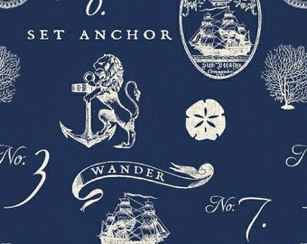 Nautical Fabric, Anchor, Sailboat, Sand Dollar - Hidden Cove Sea Emblems by Sue Schlabach for Windham - 40430 Navy - Priced by the Half Yard