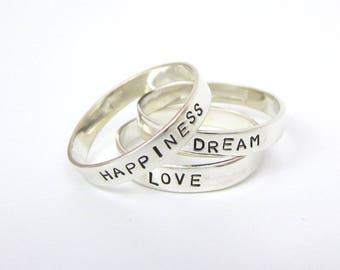 Personalised Silver Stacking Ring