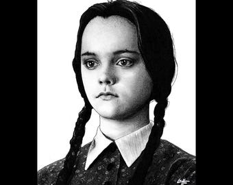"Print 8x10"" - I Hate Everything - Wednesday Addams The Addams Family Christina Ricci Morticia Gomez Dark Art Horror Comedy Gothic Pop Art"