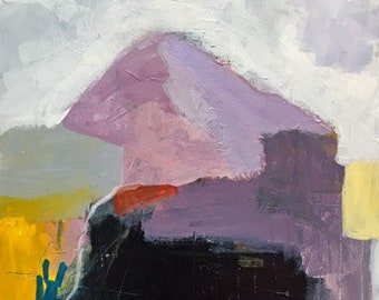 abstrakte Malerei moderne Kunst lila abstrakte gelb abstrakte Landschaft Pamela munger