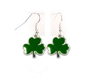 St Pattick's day shamrock, clover hook earrings. great parade item, party, gift, grandmother, mother, aunt,