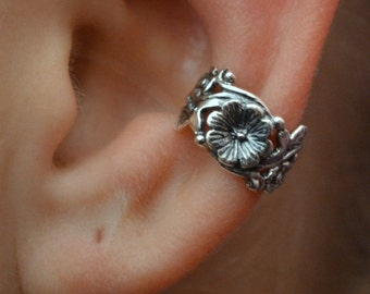 Victorian Flower Leaves and Vines Ear Cuff - Sterling Silver - SINGLE