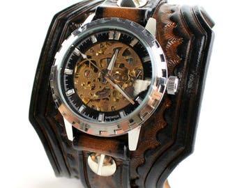 Steampunk Watch Cuff, Brown Leather Wrist Watch, Leather watch strap, Leather Bracelet Watch