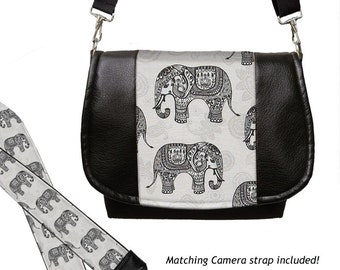 SET Dslr Camera Bag and Dslr Camera Strap, Vegan Leather Camera Bag Slr and Camera Neck Strap, elephants paisley gray black MTO