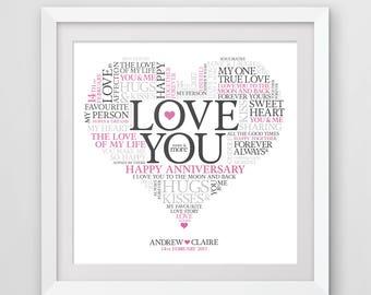 Love You - Love heart word art print, anniversary gift, valentines gift.