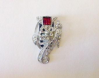 Art Deco pot metal dress fur clip flower red and clear rhinestones fashion accessory