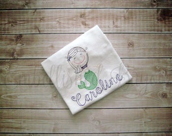 Vintage Mermaid with Name T-shirt Tank Top or Onesie Bodysuit for Girls Personalized
