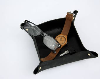 Black Leather Valet / Coin Tray / Planter - Black & Gold - Father's Day Gift for Him - Gift for Her - Leather Home Decor - Plant Holder