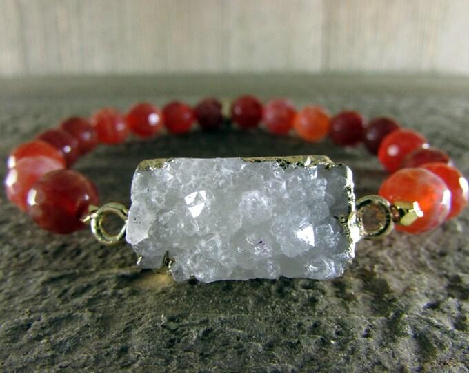 Druzy & Fire Agate Gemstone Stretch Bracelet