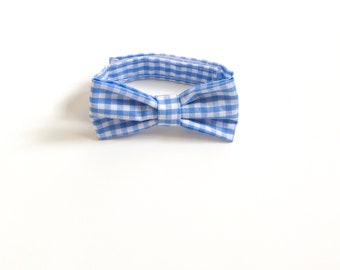 Blue checked Bow Tie ~ Baby Bow tie ~Blue white bow ~ Daddy and me bow tie~ page boy bow tie~ wedding bow tie~ Spring bow~ groomsmen tie