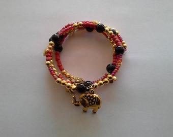 black gold red memory Wire Bracelet
