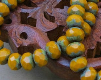 Czech Glass - Opaque Mustard - With Picasso - 6x8mm - Faceted Rondelle - 25 Beads