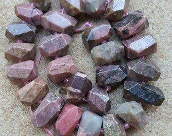 """Natural Rhodonite Nugget Beads, 15~25mm x 13~17mm - 16"""" Strand"""