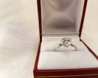 Heart Shaped Solitaire Ring 14k Solid White Gold Cubic Zirconia