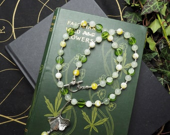 Ginkgo Leaf, with Nephrite and Yellow Jade Necklace - Tree of Life - Pagan, Maidenhair, Maiden Hair tree