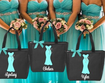 Bridesmaid tote bags , bachelorette party gifts , bridal party tote bags , Bridesmaid gifts Dress Personalized Maid of Honor Monogrammed