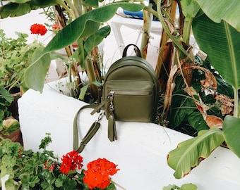 mini leather backpack, small leather backpack, green leather backpack, leather backpack, leather backpack women, womens mini backpack purse