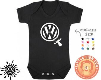 VW logo Pacifier Dummy baby onesie bodysuit / VW baby / VW enthusiast / vw onesie / Volkswagen baby onesie with cute pacifier/ cars baby
