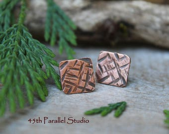 Hammered Copper Stud Earrings, Stud Earrings, Rustic Stud Earrings, Copper Studs, Copper Earrings, Textured Copper, Studs, Hammered Jewelry