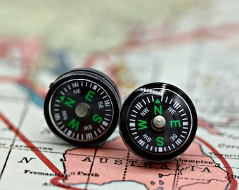 Working Mini Compass Post Earrings