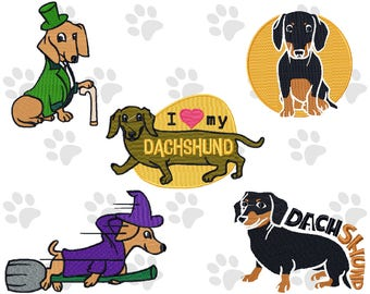 Machine Embroidery Designs - Dachshund Collection of 5