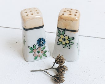 Vintage Ceramic Japan Tiny Flower Salt and Pepper Shakers Small Delicate Floral Retro Thrifted