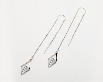 Long Chain Earrings, Rhombus Drop Earrings, White Gold Threader Earrings, Spike Earrings, Gift For Her