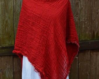 Red scarf, 100 linen, women scarf, washed linen, linen wrap, spring scarf, 100 percent linen, natural linen, european linen, linen clothing