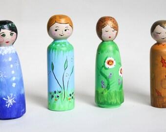 Set of 4 Wooden Figurines