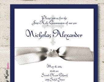 Boy First Communion Invitation Boy Silver and Navy