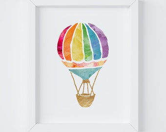Hot Air Balloon, Nursery Print, Girls Room Decor, Playroom Decor, Kids Room Decor, Boys Room Decor, Instant Download, 8x10 & 5x7 Print