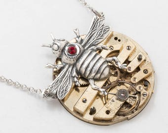 Steampunk Necklace, Bee Necklace, Vintage Gold Pocket Watch Movement with Gears & Ruby Red Crystal, Bee Pendant on Silver Chain Jewelry Gift