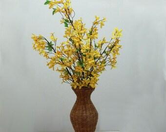 Mother's Day, Summer Centerpiece, Wicker Vase, Home Decor, Yellow Flowers, Floral Arrangement, Silk Flowers, Table Arrangement, Fake Flowers
