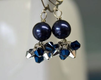 "Silver and Blue Crystal Earrings from North Atlantic Art Studio in Maine ""Moonlight"""