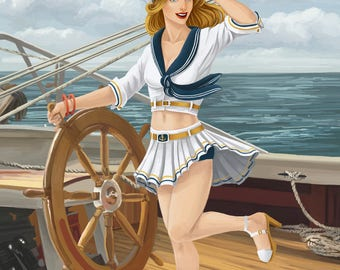 Key West, Florida - Sailor Pinup - Lantern Press Artwork (Art Print - Multiple Sizes Available)