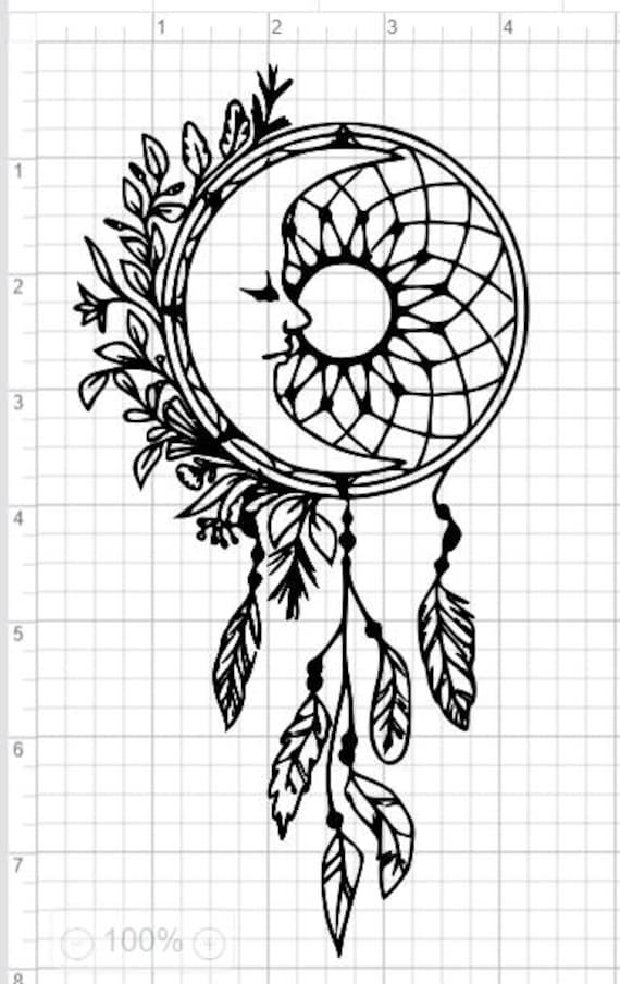 Moon Dreamcatcher Design SVG pdf eps dxf Studio 3 Cut Files