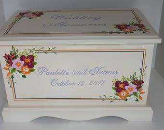 Wedding keepsake chest Autumn floral wedding memory box personalized wedding bridal shower gift hand painted card box