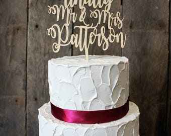 Personalized Mr. and Mrs.  Wooden Wedding Cake Topper